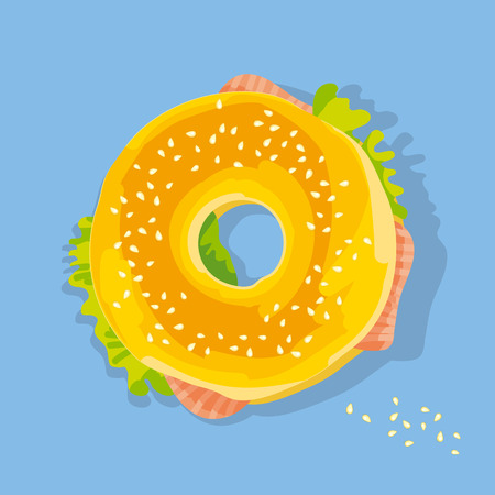 fast food salmon sandwich. bagel with seed flat style poster. food snack vector illustration Illustration