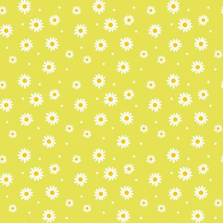 デイジーかわいいシームレス パターン。花柄のレトロなスタイルのシンプルなモチーフ。色背景の生地に白い花  イラスト・ベクター素材