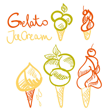 gelato ice cream sketch.  vector design of italian food icon set. hand drawn meal ingredient illustration