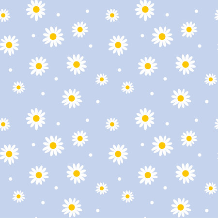 daisy cute seamless pattern. floral retro style simple motif. white flowers on color background fabric