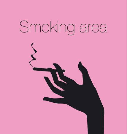 Main avec cigarette, signe de zone fumeur, illustration de silhouette vectorielle Vecteurs