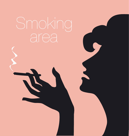 smoking woman: hand with cigarette, smoking area sign, vector silhouette illustration with woman profile Illustration