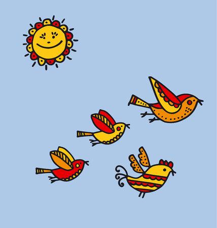 folk style birds childish hand drawn image. sketch vector illustration