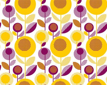 60s floral retro pattern. geometry decorative style vintage flower seamless motif. vector illustration