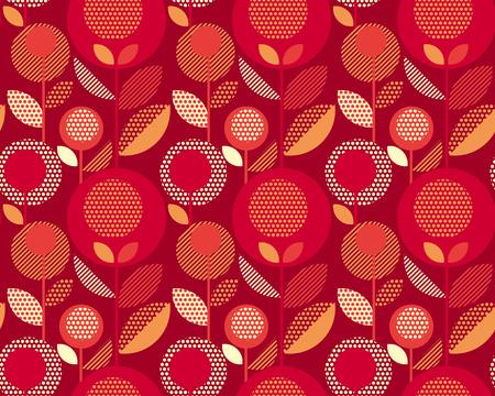 crimson colour: luxury red 60s floral retro pattern. geometry decorative style vintage flower seamless motif. vector illustration