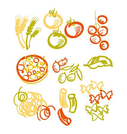 vector design of italian food icon set. hand drawn paste and pizza ingredient illustration Ilustração