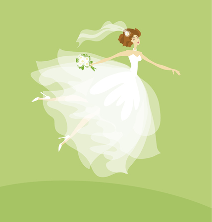 elegant bride in white dress concept. white transparent veil vector illustration Illustration