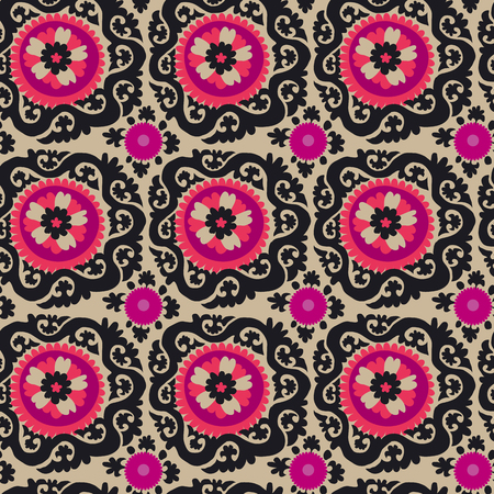 traditional asian carpet embroidery Suzanne in pink and black color. Uzbek ethnic decorative floral motif for rug, fabric, tablecloth Illustration
