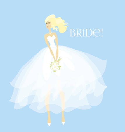 Elegant bride in white dress concept. white transparent veil vector illustration.