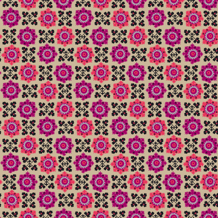 grey rug: traditional asian carpet embroidery Suzanne in pink and black color. Uzbek ethnic decorative floral motif for rug, fabric, tablecloth Illustration
