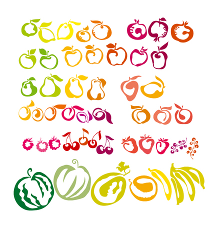 set of icons - berries and fruits. vector illustration of natural healthy food symbols. colorful simple edible plant silhouette in  flat design style