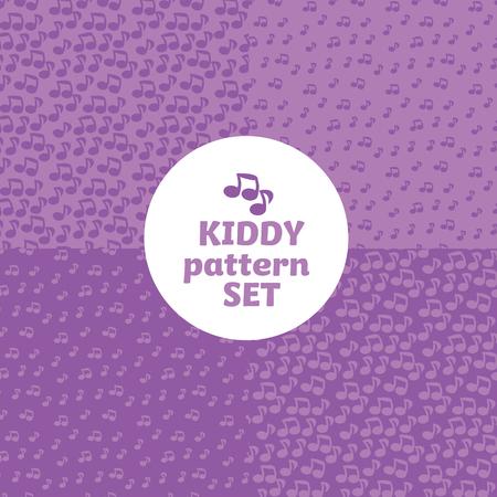 음악 노트 어린이를위한 간단한 밝은 색 패턴 모티브. 벡터 유치 한 셰이프 아이콘 배경입니다.