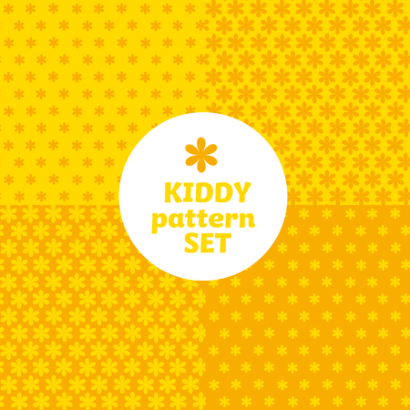 yellow daisy flower simple bright color pattern motif for kids. vector background with geometry shape icons. 向量圖像