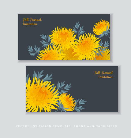 aster: autumn chrysanthemum flower card template. golden-daisy floral vector illustration. decorative elegant brightly colored ornamental aster fall blossom.