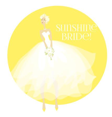 sunny summer elegant bride in white dress concept. white transparent veil vector illustration Illustration