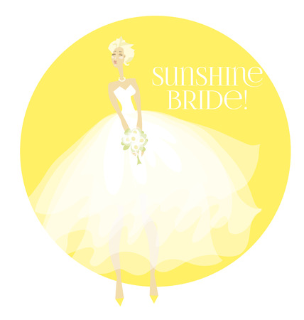 sunny summer elegant bride in white dress concept. white transparent veil vector illustration Illustration