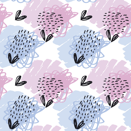 seamless pattern pastel color wallpaper. vector illustration for fabric with floral natural motif. pencil drawn paint stroke abstract elements Illustration