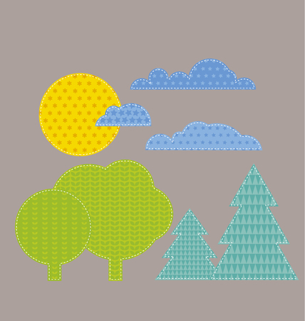 patchwork landscape: patchwork style kid landscape vector illustration. sun, cloud and forest naive cartoon Illustration