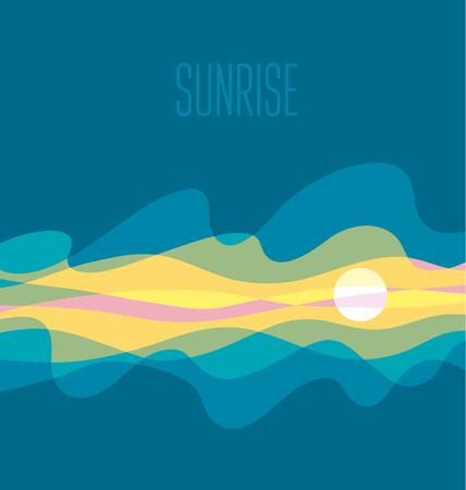 abstract sunrise sky vector illustration. daybreak simple concept wave blue background Illustration