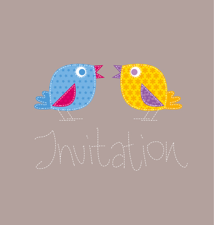patchwork style kid bird vector illustration. two birdie on invitation template Иллюстрация
