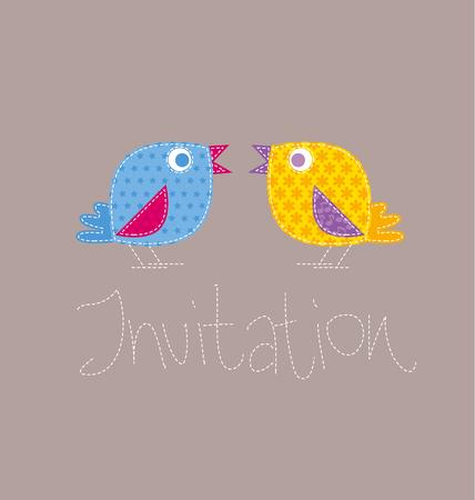 patchwork style kid bird vector illustration. two birdie on invitation template Illustration