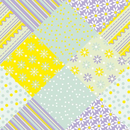 folkstyle: yellow and green pastel color patchwork vector seamless pattern.  flower and  polka dot fabric motif