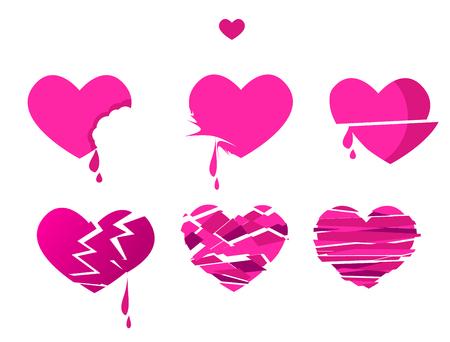 bleed: broken heart icon set vector illustration. pink love symbol. relationship health concept