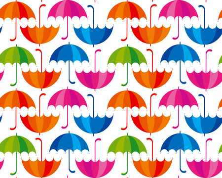 upside: cute rain drop and umbrella colorful seamless pattern on white background. simple vector illustration. flat style, rainbow color. Illustration