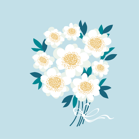light white decorative camellia flowers wedding template.  stylized daisy on sky blue background vector illustration