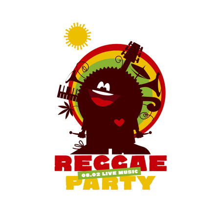 rasta hat: funny cartoon musician man with instruments and cannabis. classic color reggae music concept poster. Jamaica poster vector illustration