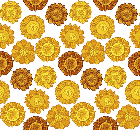 decorative stylized marigold flower vector illustration. seamless pattern of decorative rustic autumn bright floral