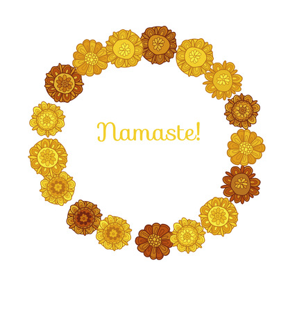 decorative stylized marigold floral vector illustration. wreath of yellow fall flowers of india and ukraine