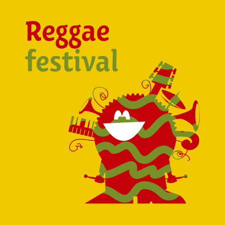 jamaican man: funny cartoon musician man with instruments. classic color reggae music concept poster. Jamaica poster vector illustration