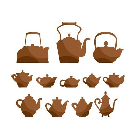 kettle teapot icon set. tableware  symbol vector illustration. vintage antiques collection