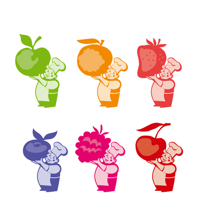 confection: little chief cooker hold huge giant barry for jam. strawberry, raspberry, orange, apple, blueberry, cherry label or sticker set. vector illustration