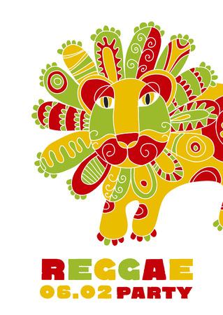 folk style lion  reggae mascot. color music poster on white background. Jamaica poster vector illustration Иллюстрация