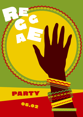 Durum zon en tribale menselijke hand met armbanden. reggae folkmuziek achtergrond. Jamaica poster vectorillustratie Stockfoto - 81630134