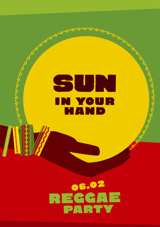 jamaican: sun disk and tribal human hand with bracelets. reggae folk music background. Jamaica poster vector illustration