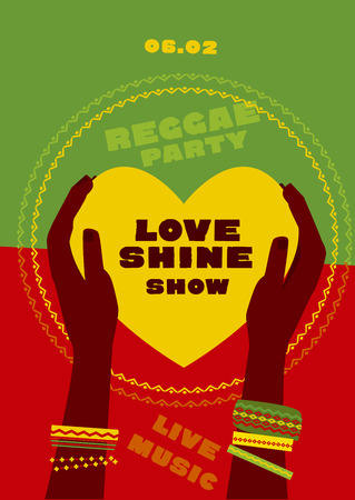 tribal human hand with bracelets hold yellow heart. reggae folk music background. Jamaica poster vector illustration