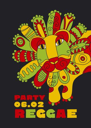 folk style lion  reggae mascot. color music poster. Jamaica poster vector illustration