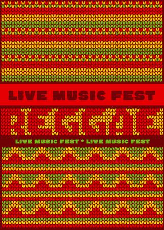 rasta hat: knitted pattern reggae color music background. Jamaica poster vector illustration Illustration