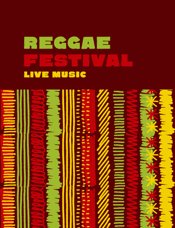 reggae music classic color background. Jamaica poster vector illustration with tribal hand drawn stripe patterns Illustration