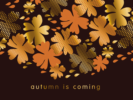 fascinação: stylized autumn floral vector pattern illustration. fall hot color natural decorative design with gold elements. abstract season vector on black background for invitation, header, cover, poster. Ilustração