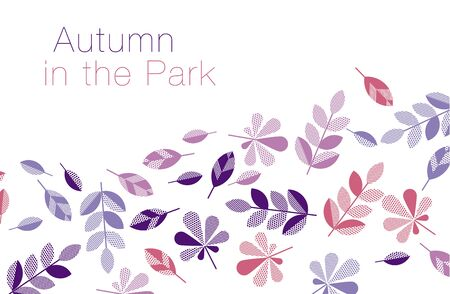 plain postcards: abstract geometry style vector autumn illustration. purple and violet color decorative leaves for surface design, card, invitation, header