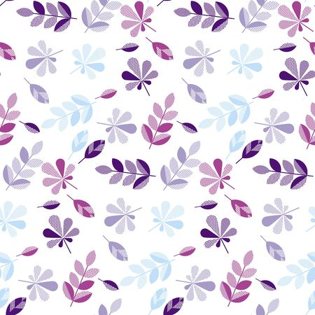 plain postcards: Purple and violet color decorative fall leaves pattern for surface design, fabric, wrapping paper.