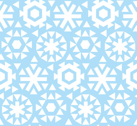 christmas backgrounds: geometric flat snowflake seamless pattern vector illustration.  blue winter repeatable motif for fabric, wrapping paper, surface design. ice floral abstract snow Illustration