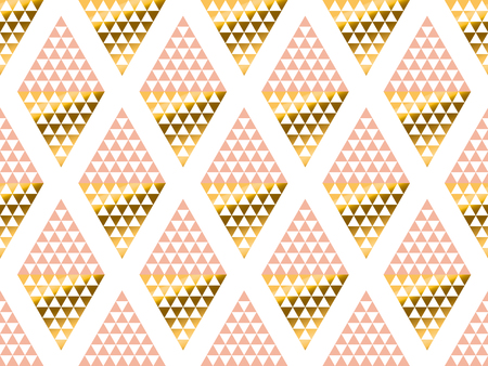 christmas backgrounds: geometry triangle pattern. gold stylized vector illustration. Art Nouveau seamless ornamented pattern in yellow and rose color Illustration