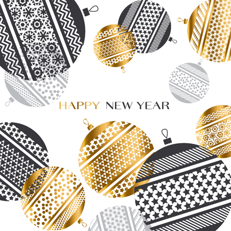abstract gold new year baubles vector illustration. golden elegant style decorative design for celebration invitation, greeting card, header, banner Çizim