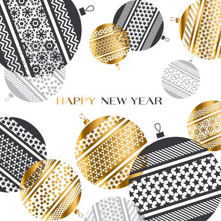 abstract gold new year baubles vector illustration. golden elegant style decorative design for celebration invitation, greeting card, header, banner Illustration