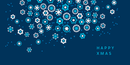 christmas backgrounds: ice floral shaped abstract snow dynamic composition. geometric flat snowflake vector illustration. blue winter motif for surface design, header, weddind invitation Illustration